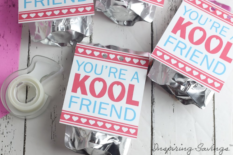 Taping You're a Kool Friend Valentine's Card to Juice Box - Valentine's day Card