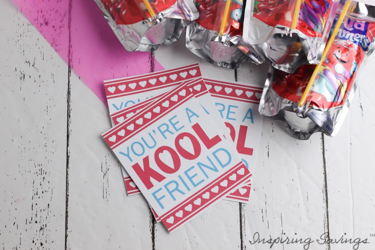 "Printable Valentine's Day Card - ""Kool"" Friend - Kool-Aid Tag -Valentine's day Card"