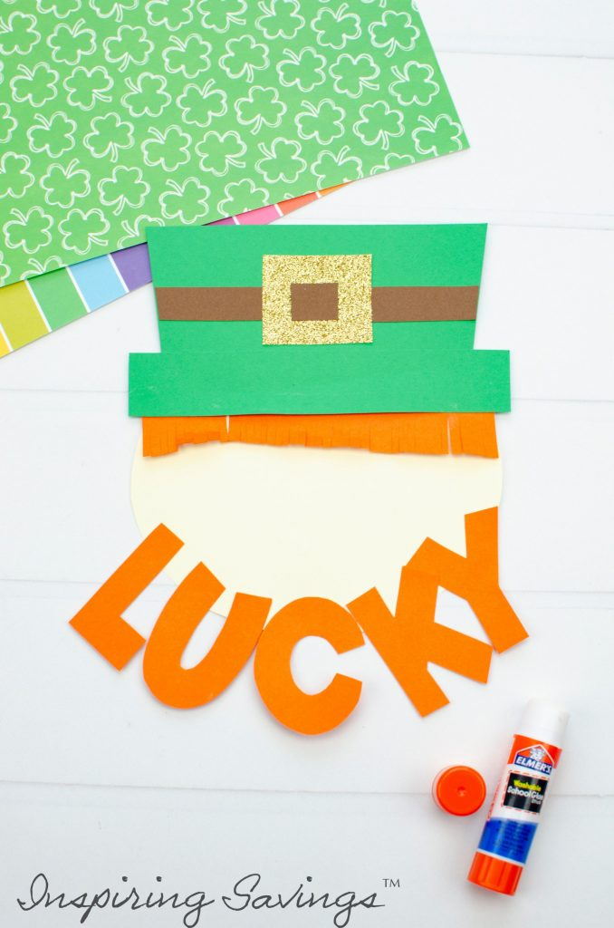 """Adding The lettering """"Lucky"""" To the Leprechaun craft"""