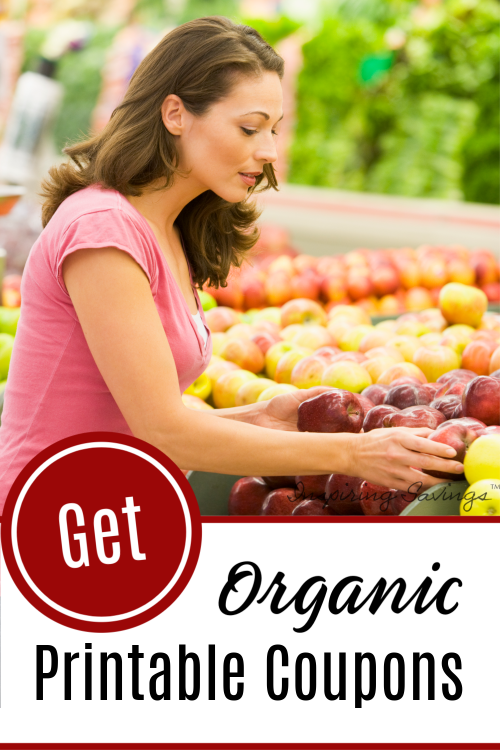 Woman Shopping in produce section of Store - Organic printable coupons