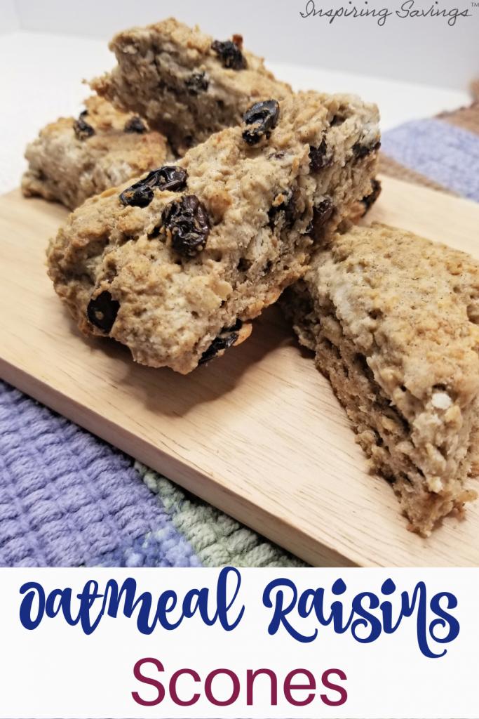 oatmeal raisin scones on cutting board