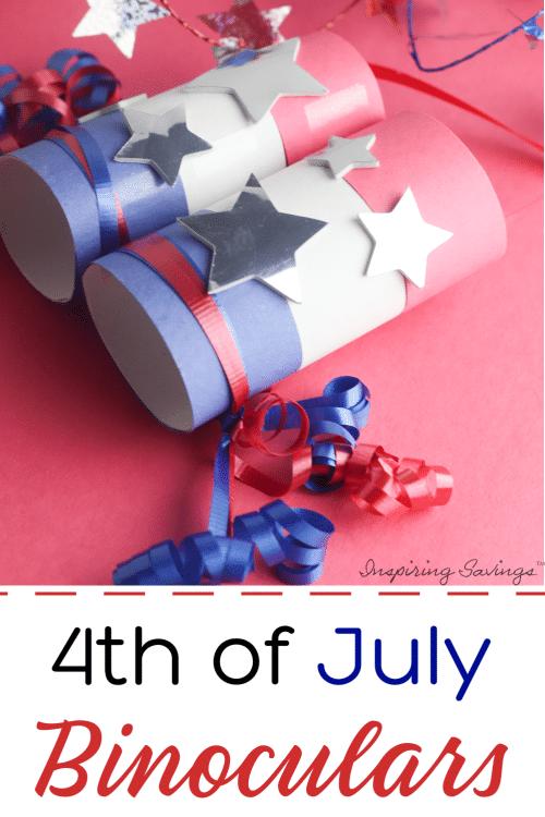 Fun 4th of July Binoculars Craft on red background