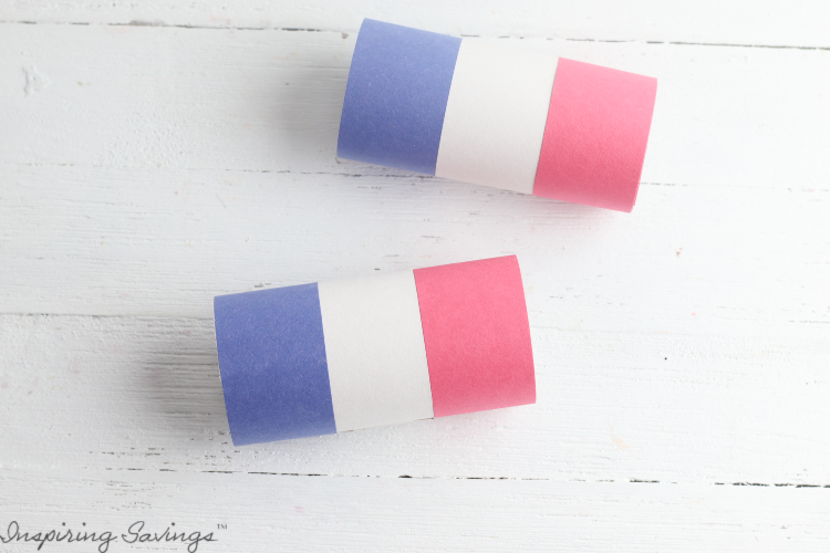Toilet paper tubes with red, white and blue