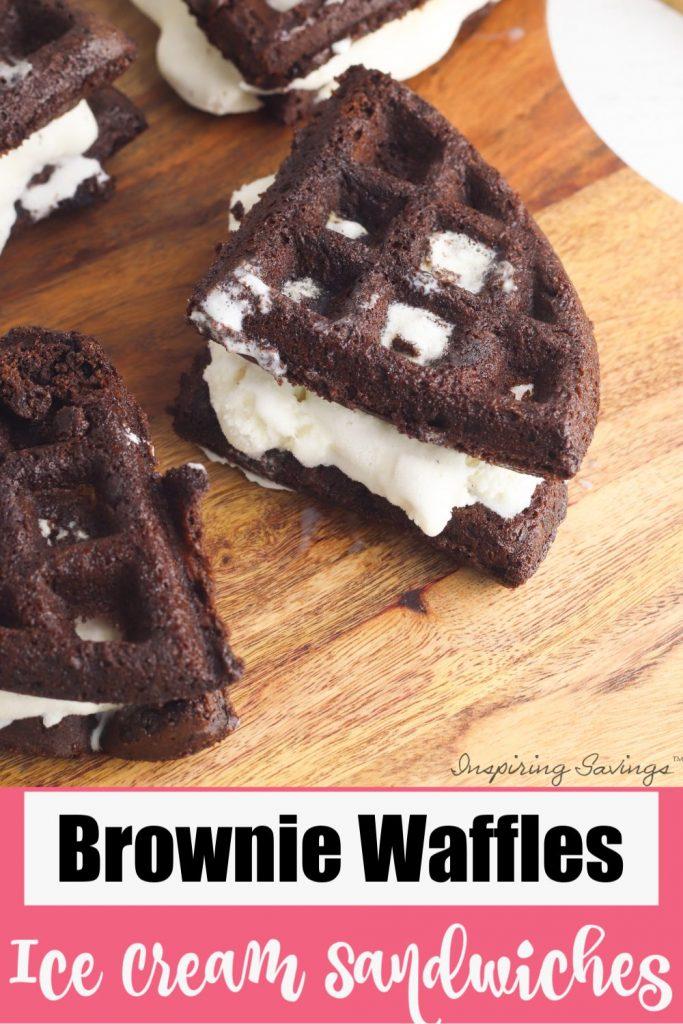 Brownie Waffle Ice Cream Sandwiches on brown cutting board