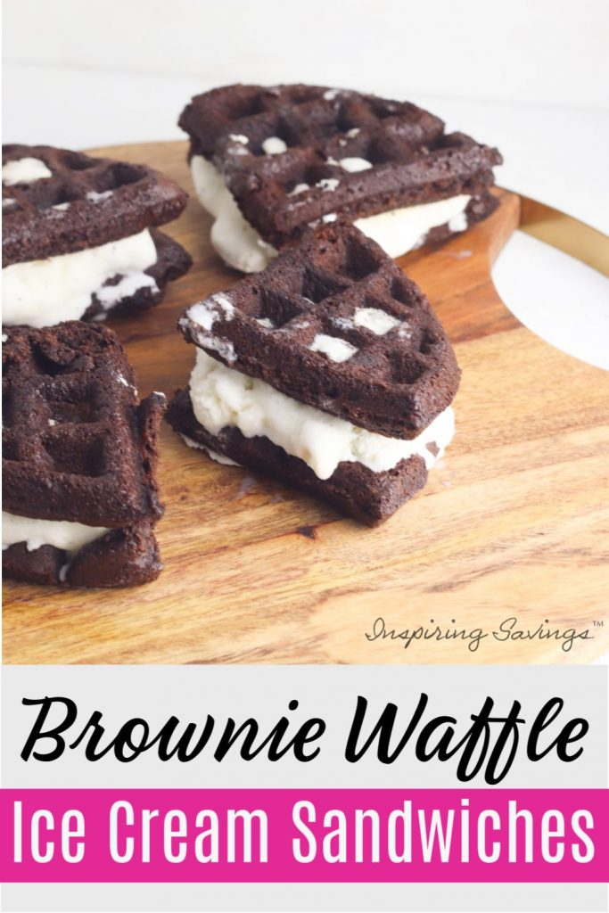 Delicious Brownie Waffle Ice Cream Sandwiches on brown cutting board