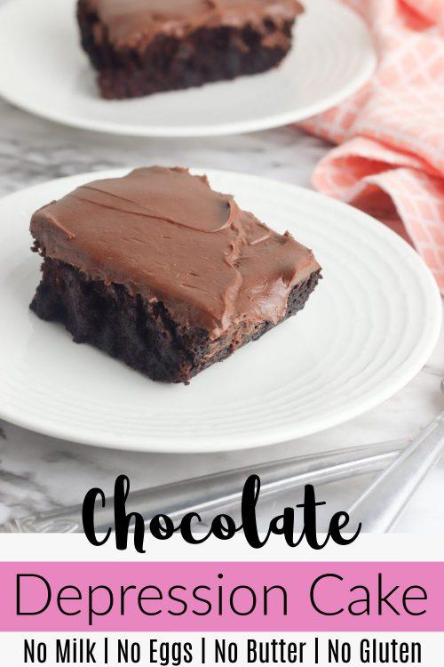Chocolate Depression Era Cake on White Plate