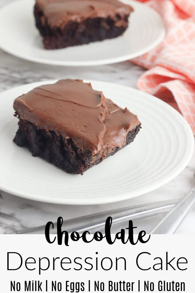 A slice of Chocolate Depression Cake on white plate