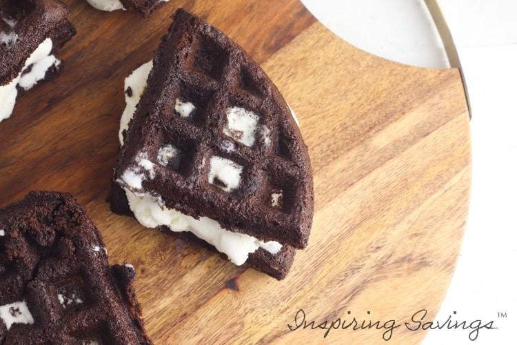 Waffle brownie Ice Cream sandwiches on cutting board