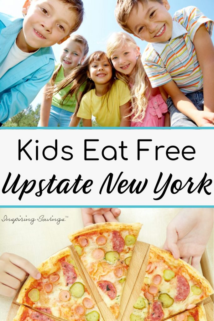 """A crowd of kids outside image with text overlay """"Kids Eat Free upstate New York"""""""
