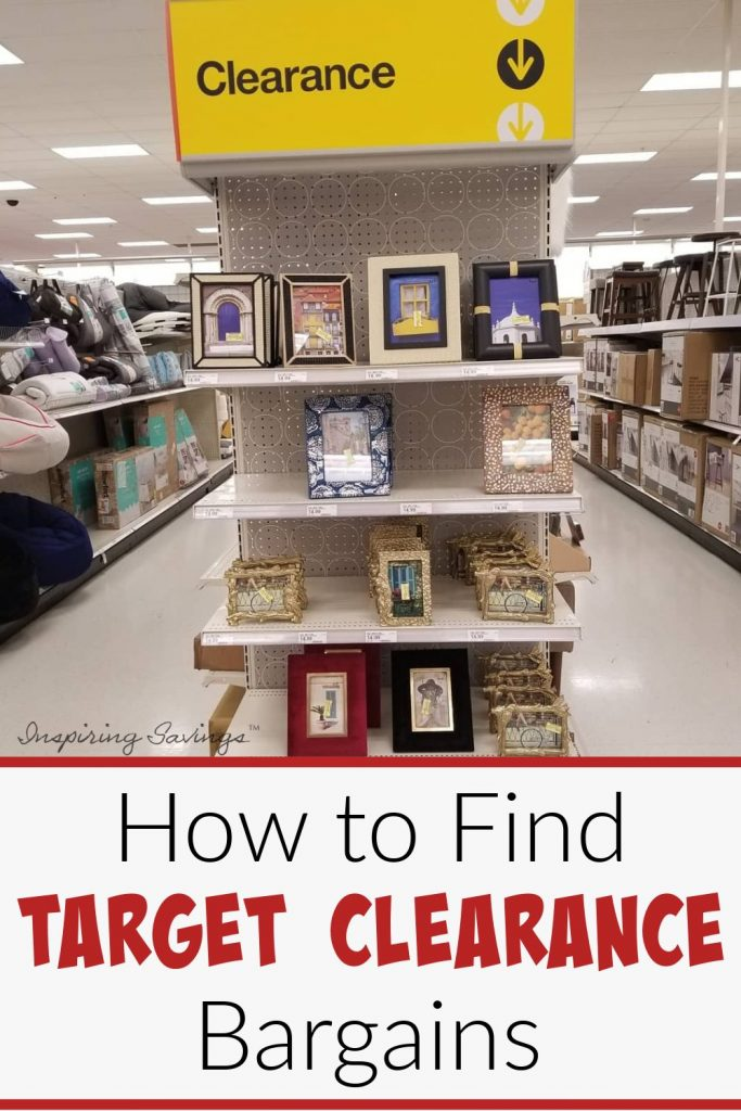 """End cap of clearance frames at Target with text overlay """"How to find Target Clearance Bargains"""""""