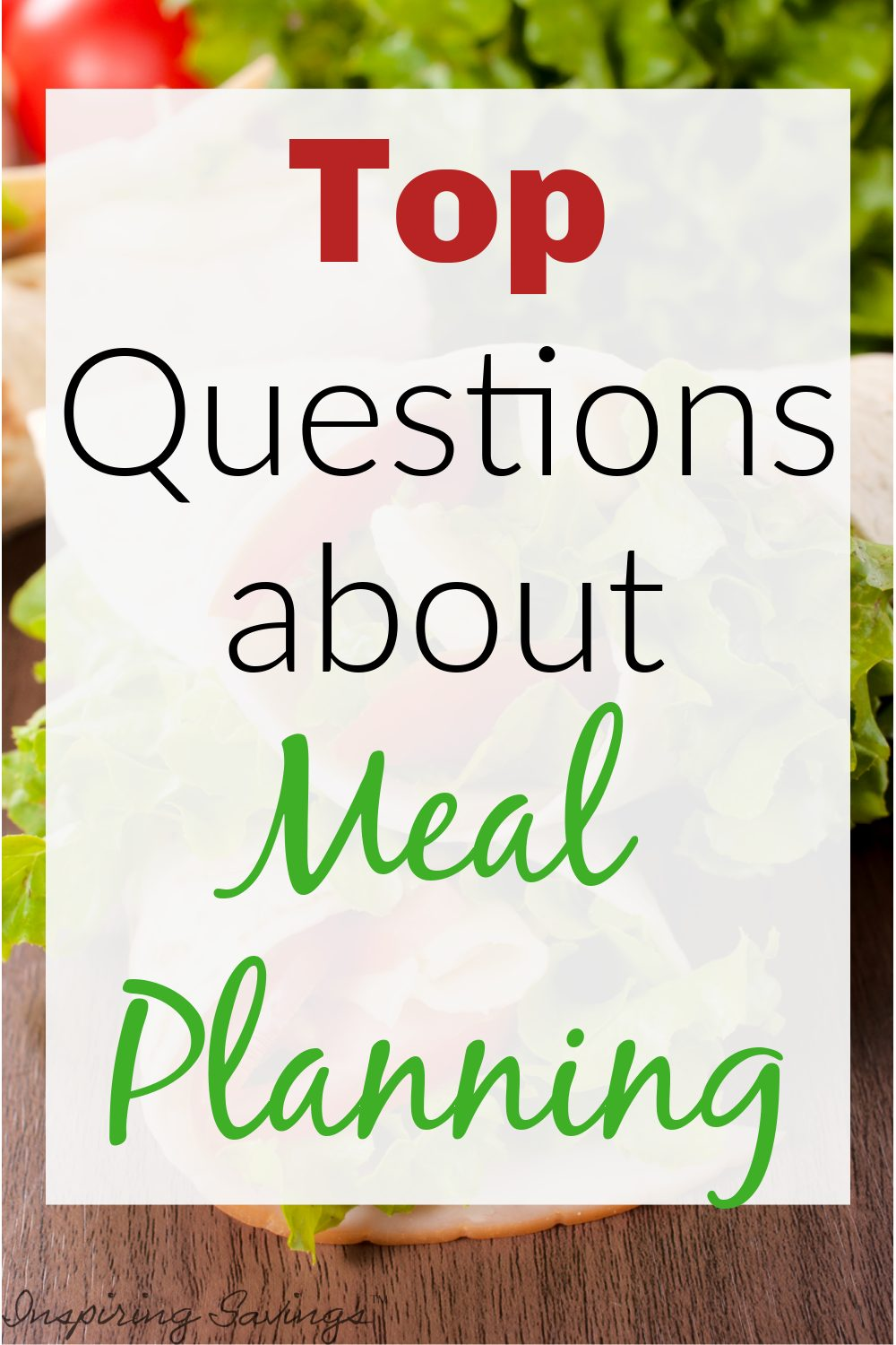 Meal planning questions