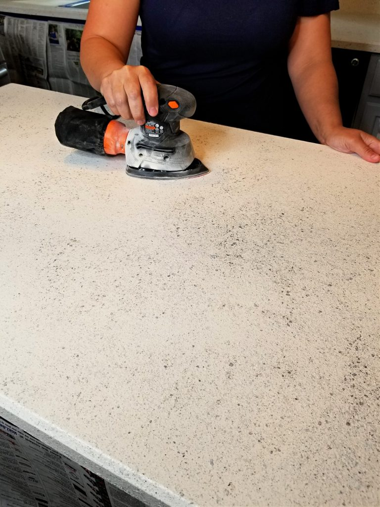 Sanding Countertops During Countertop renovation - Spreadstone finishing kit