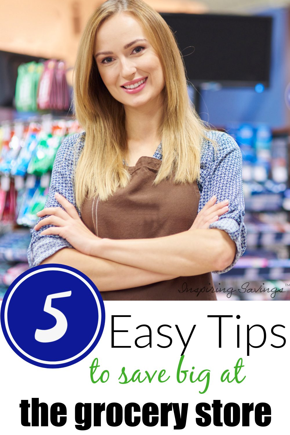 woman folding arm at the grocery store - easy tips to save big at the grocery store