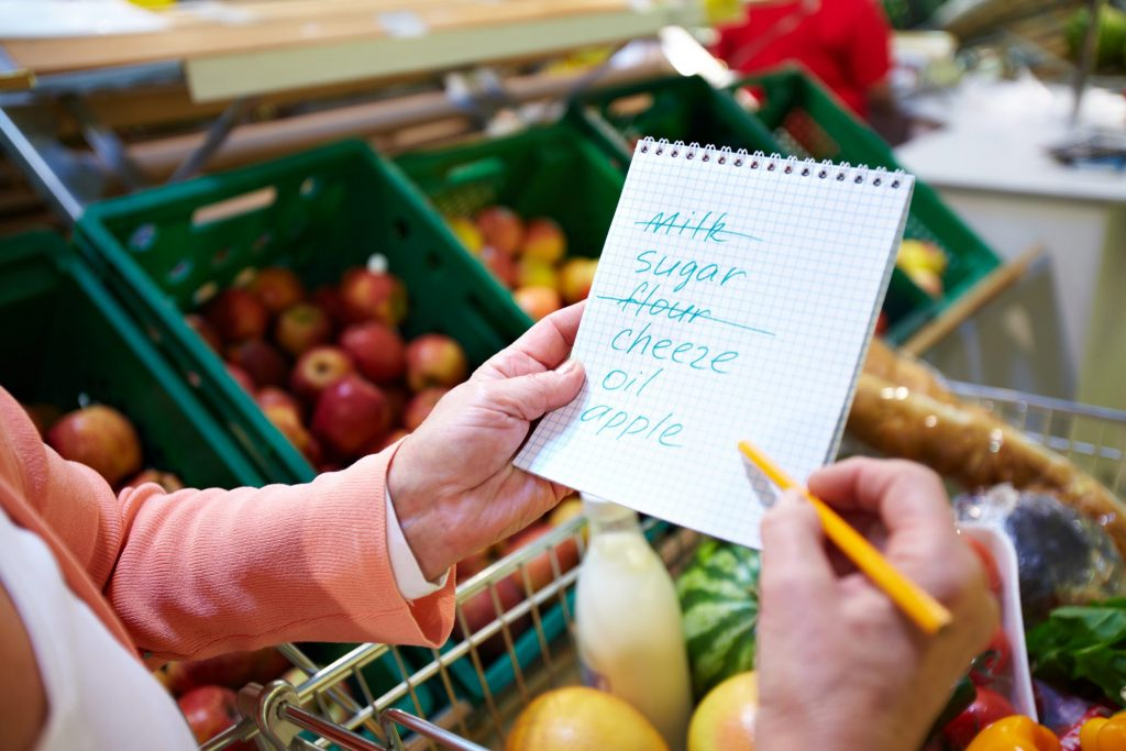 shopping with a grocery list