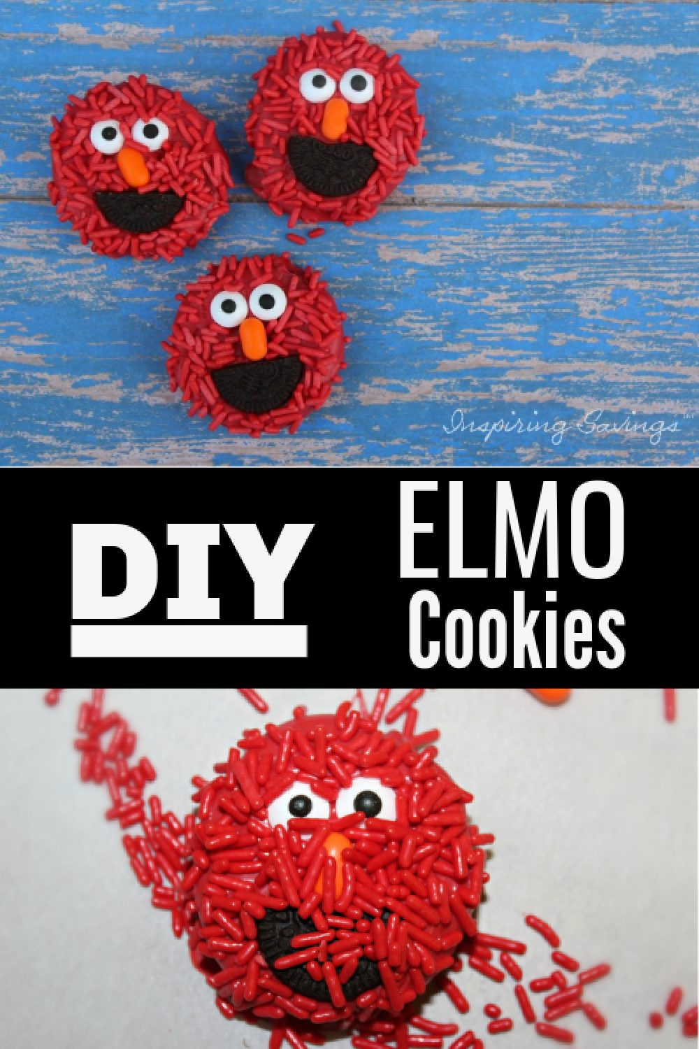 """Oreo cookies turned in to ELMO cookies on blue background - image contains text overlay """"DIY Elmo Cookies"""""""