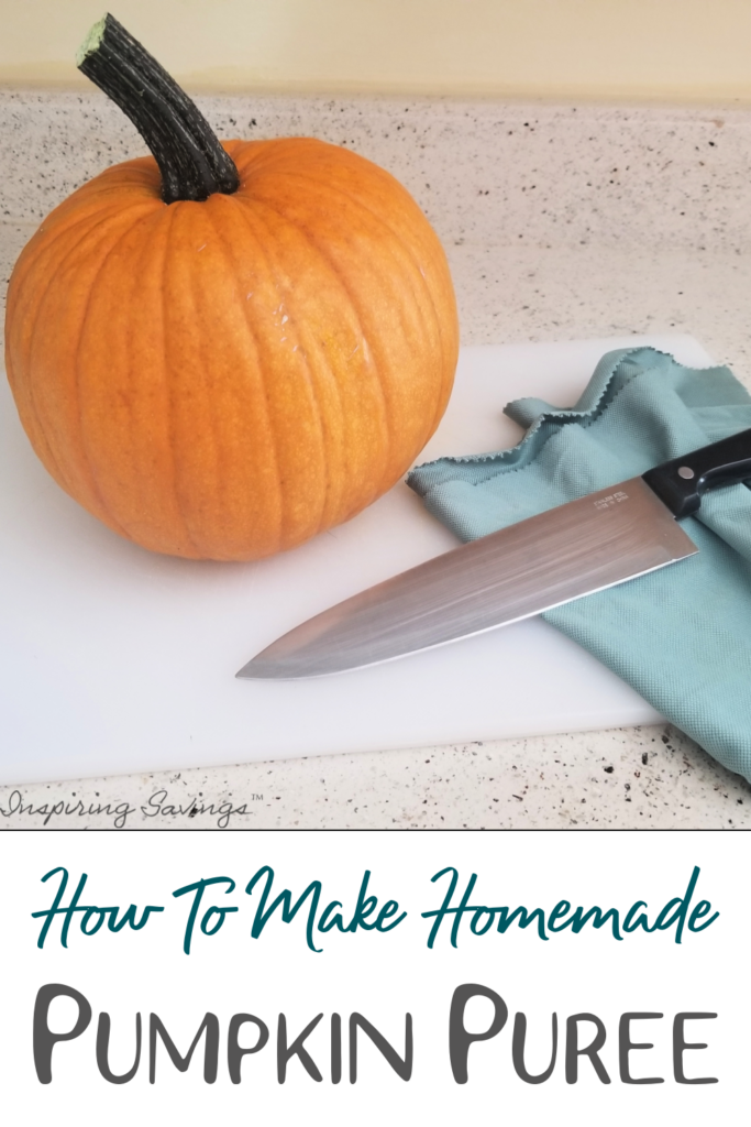 Pumpkin Puree - how to make - pumpkin on cutting board with knife
