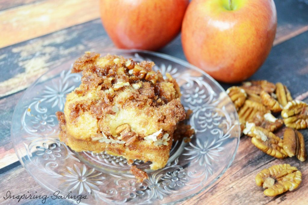 Easy Apple Cinnamon Crumb Cake on glass plate