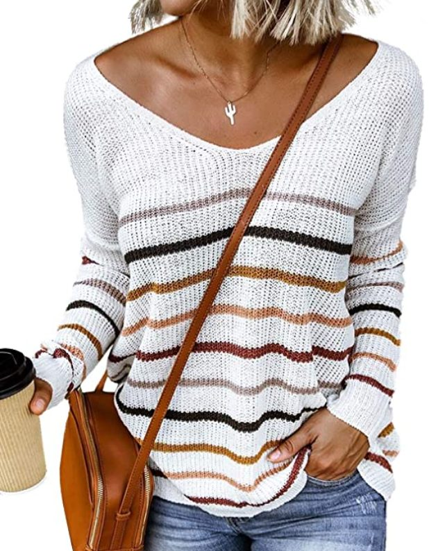 Striped Off The Shoulder Knit Top