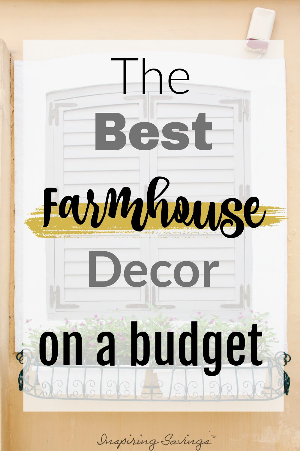Outside window with window box, farmhouse decor on a budget
