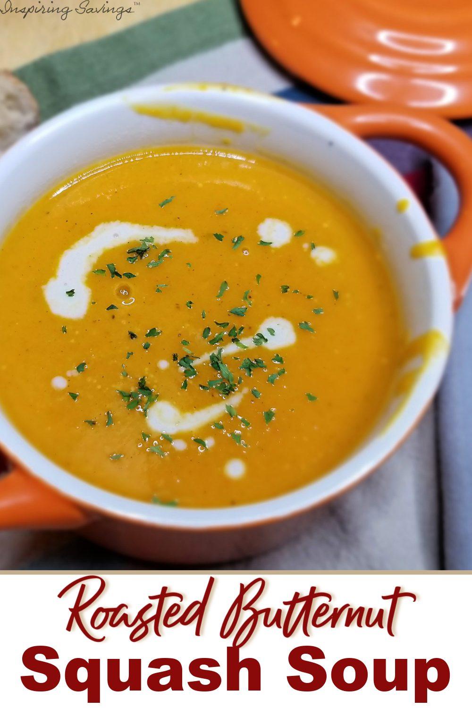 Easy Butternut Squash Soup in orange Crock