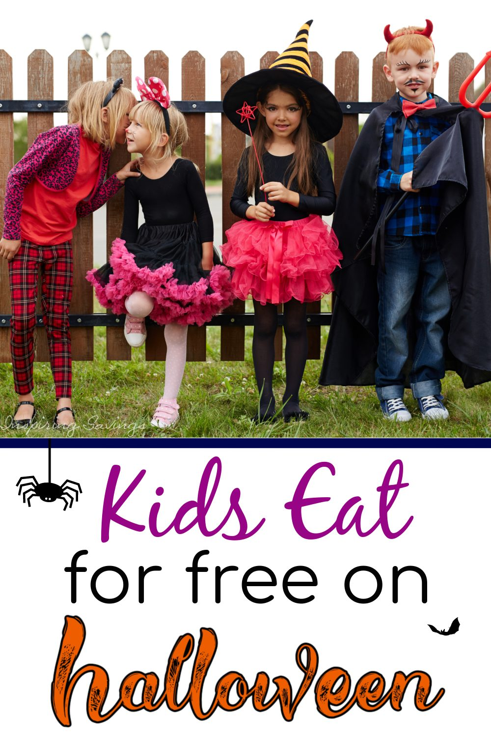 Kids dressed up for Halloween. Kids eat for free on Halloween