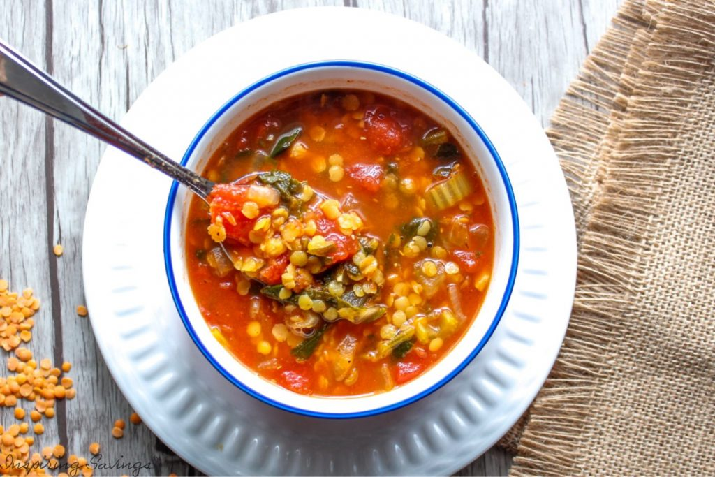 Homemade vegetable lentil soup in bowl