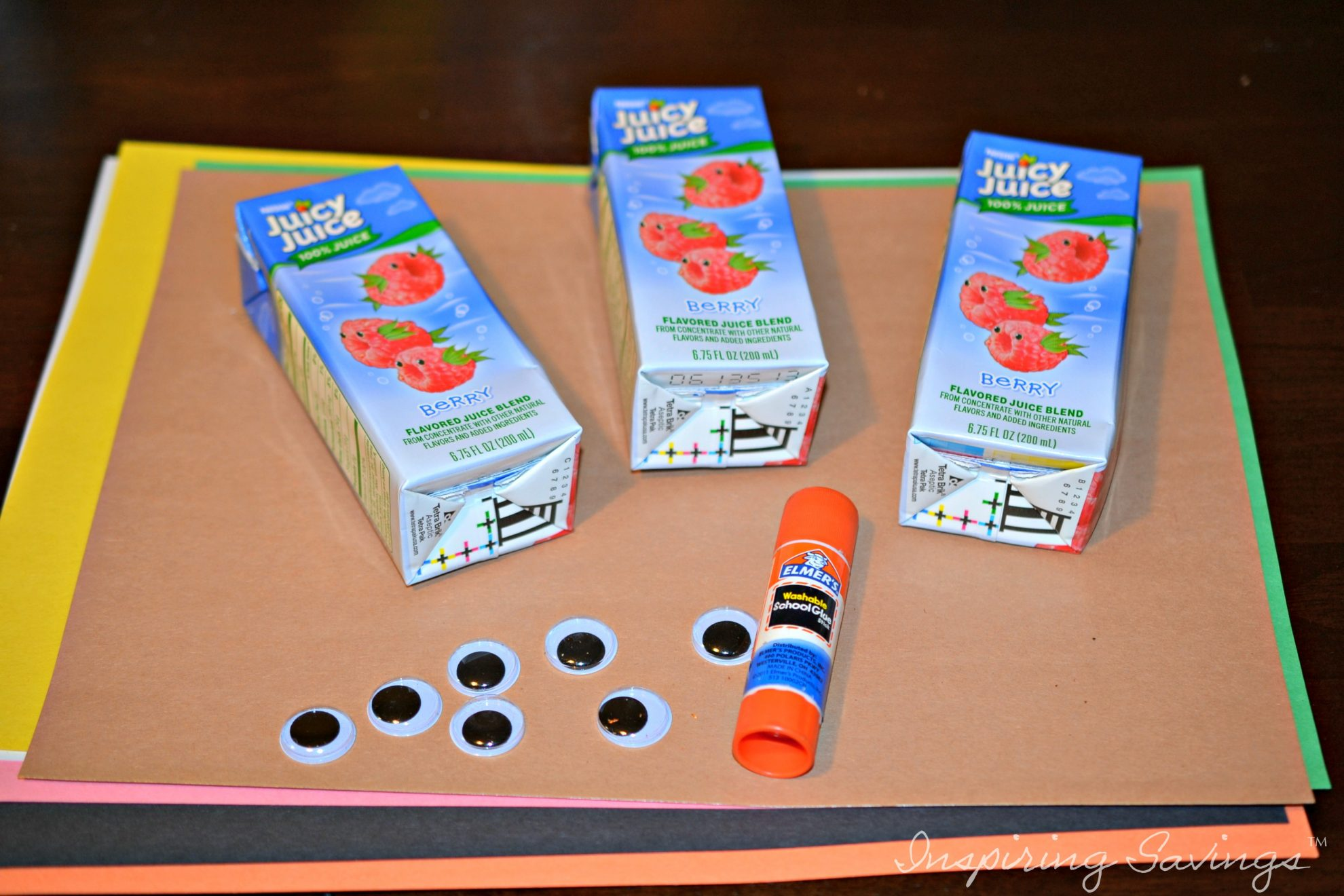 Supplies needed for Turkey Juice Box cover craft