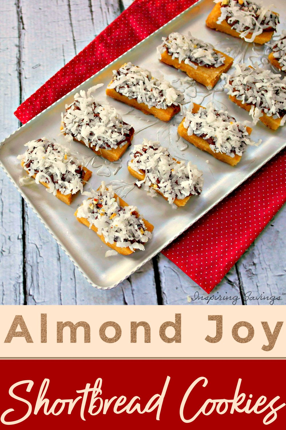 These Almond Joy shortbread cookies contain delicious coconut, flaked almond, and melted chocolate.  Makes these for your next get together or cookie exchange.