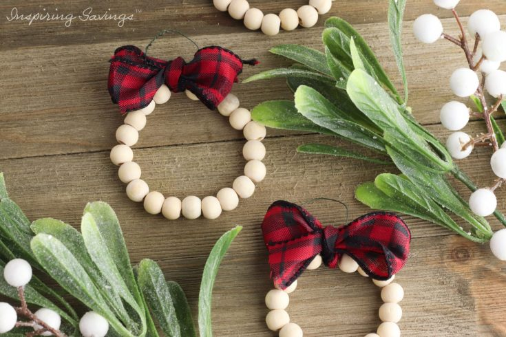 DIY Wood Bead Christmas Wreath Ornaments