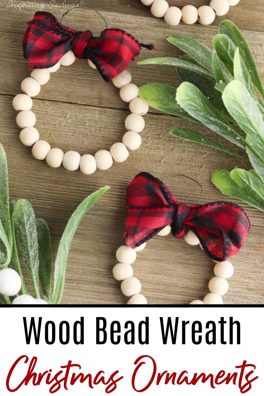 Adorable wood bead Wreath Christmas Ornaments
