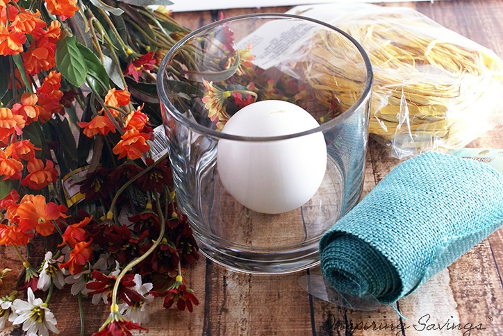 Materials needed to make fall centerpiece