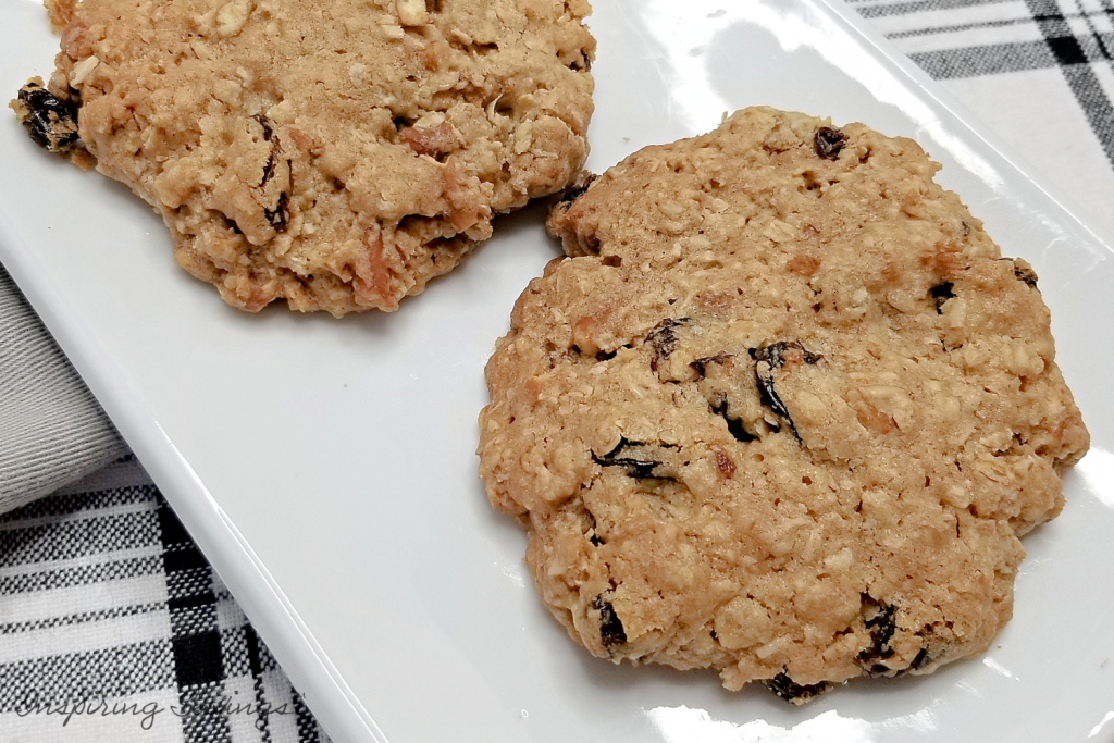Salty sweet Oatmeal  cookies on white plate