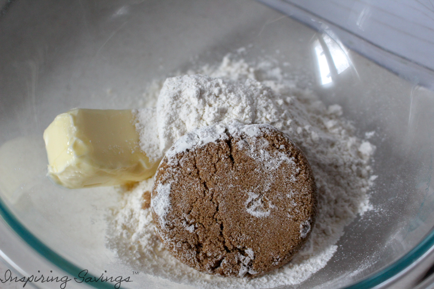 Butter & dry ingredients for shortbread fudgy brownies