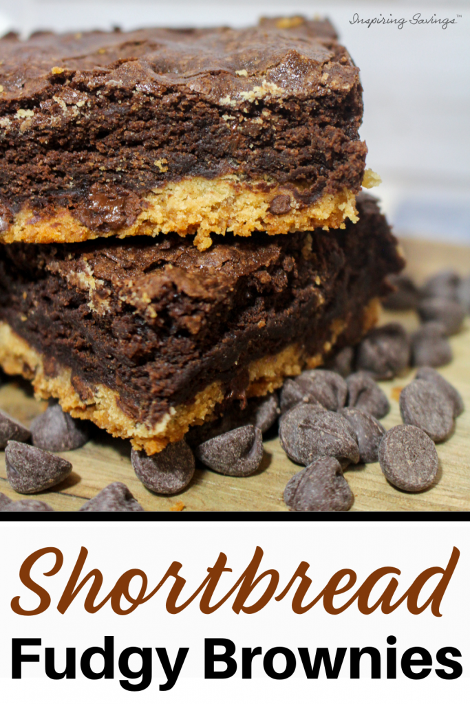 Homemade Shortbread Fudgy Brownie Recipe. Resting on chocolate morsels