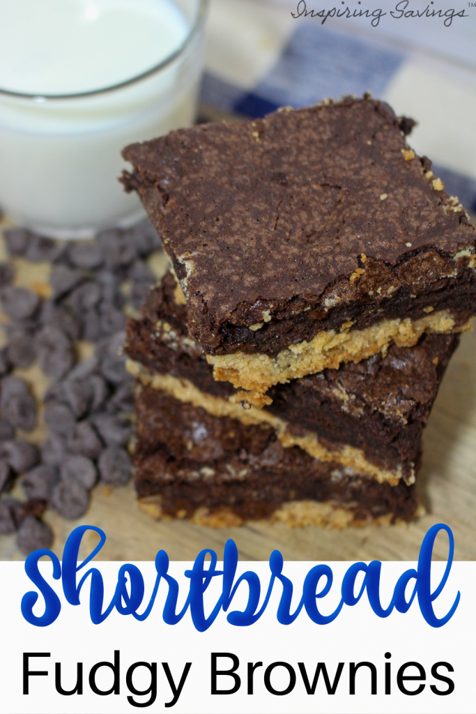 Shortbread Fudgy Brownies stacked on countertop