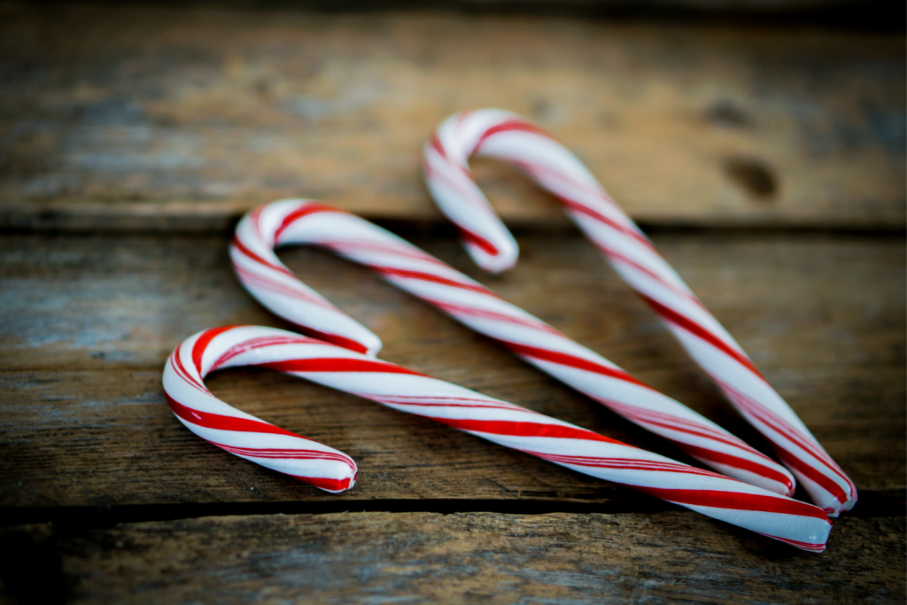Candy Canes on brown background