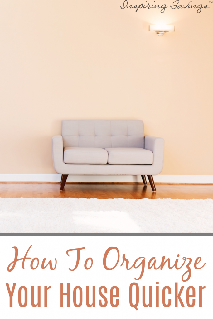 clean living room with sofa - organize your house quicker