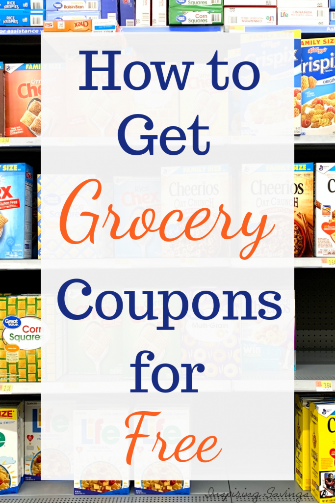 Cereal shelves in grocery store with text overlay. How to get grocery coupons for free.