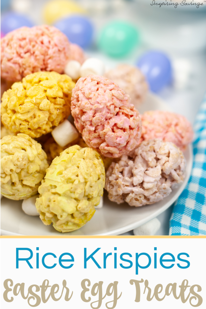 Easter Rice Krispies Egg Treats Recipe on white plate