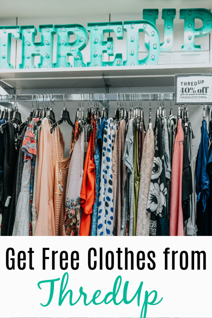 Clothes from Thredup on a rack