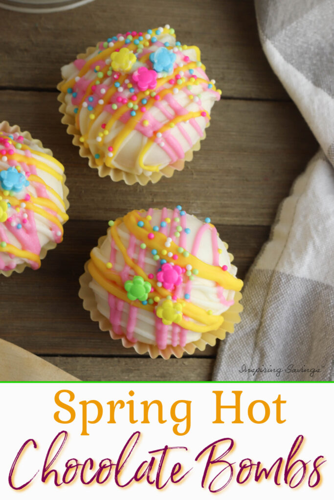 Spring White Hot Chocolate Bombs on tabletop