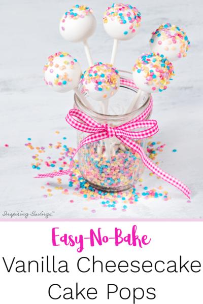 Easy No Bake Vanilla Cheesecake Cake pops