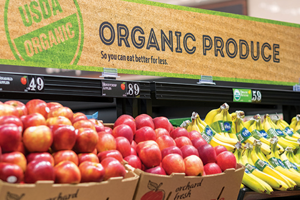 Organic food shopping at aldi
