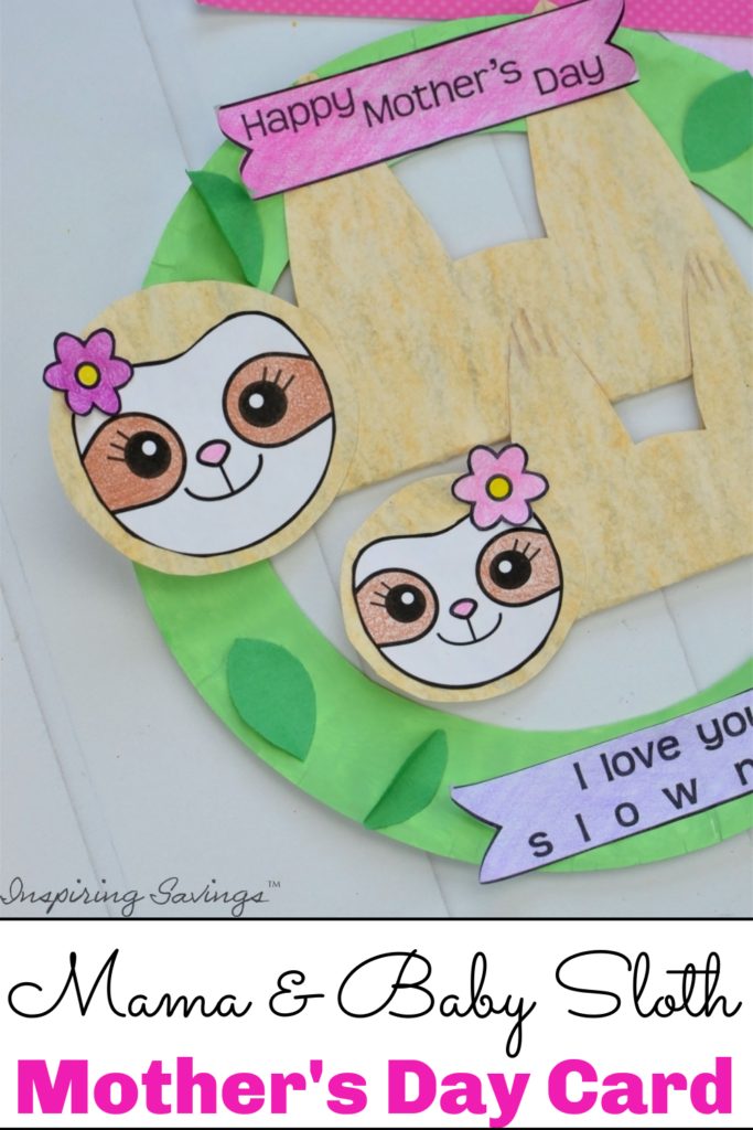 DIY Mother's day card - mama and baby sloth