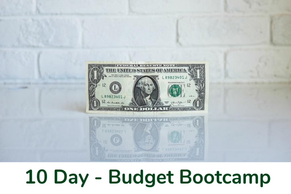 10 day Budget Bootcamp series - money on desk top