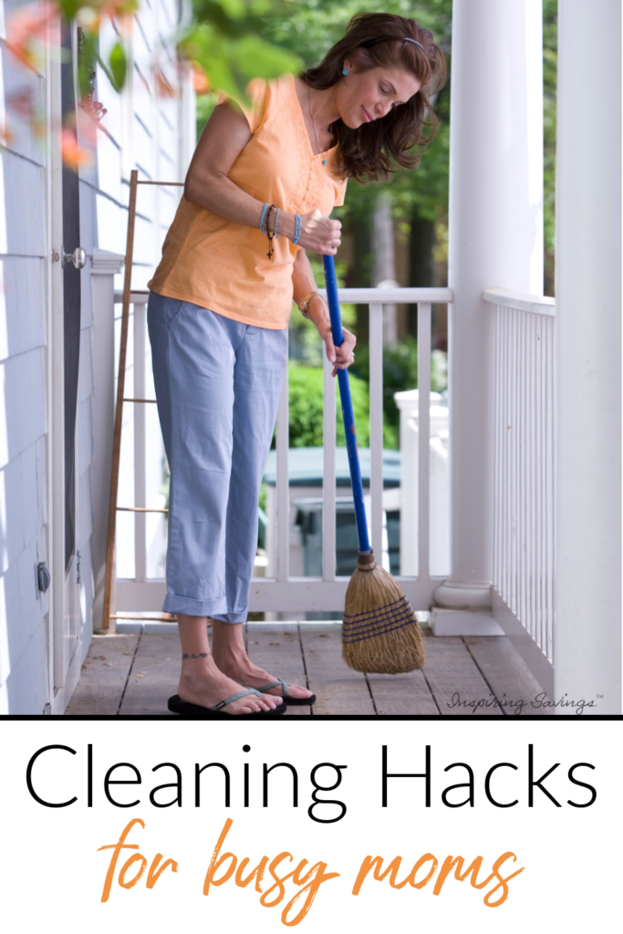Woman sweeping outside on front porch - cleaning hacks