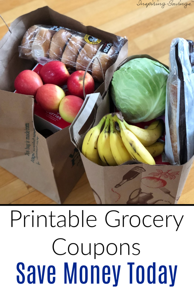 """groceries on brown bags set on to hardwood floor with text overlay """"Printable Grocery Coupons - Save Money today"""""""