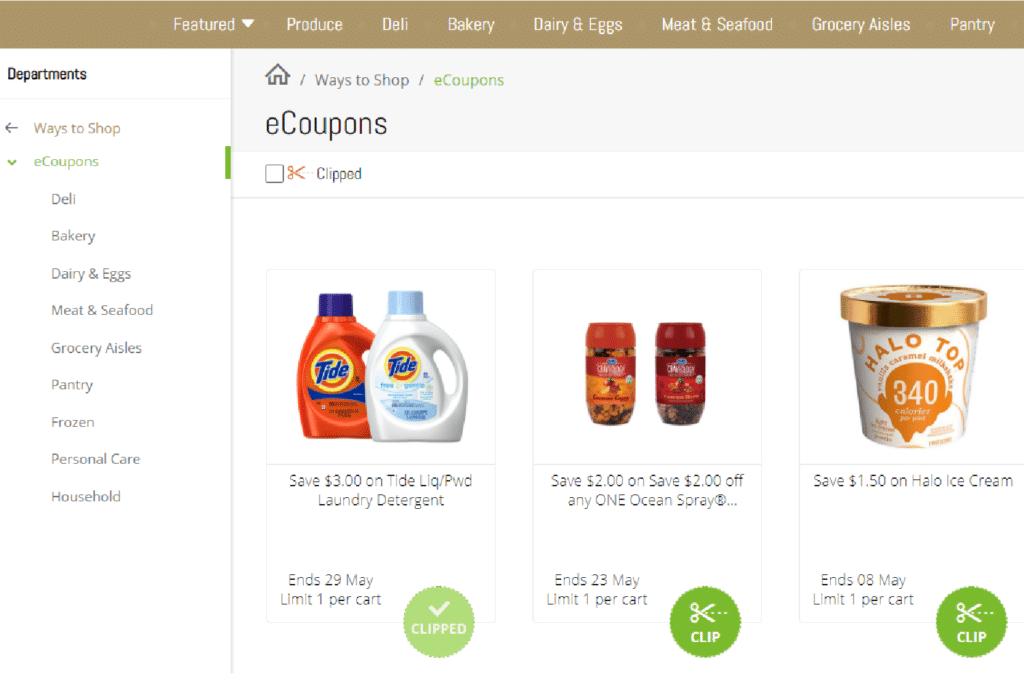 Price Chopper Digital eCoupons. Screen shot of account