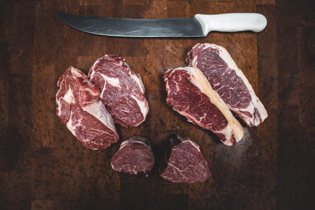 lean cuts of meat on cutting board