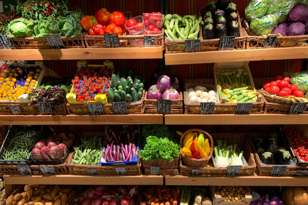 Organic Produce section in store - top tips for buying organic food on a budget